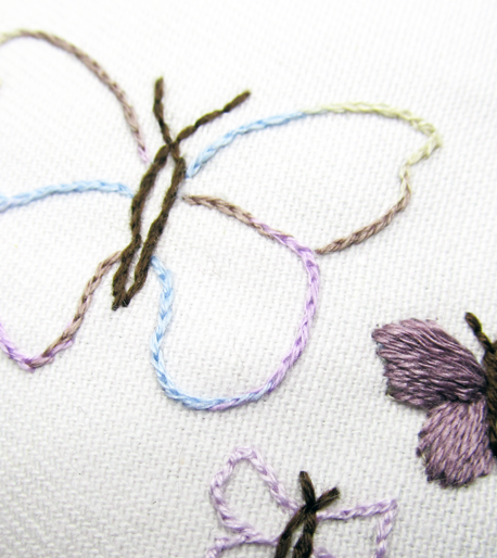 Butterflies embroidered by student
