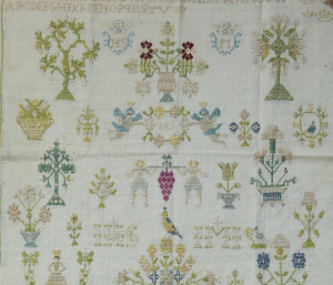 18th century cross stitch sampler
