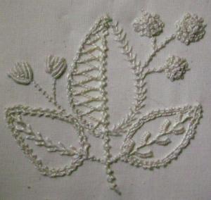 Example of Irish Mountmellick embroidery