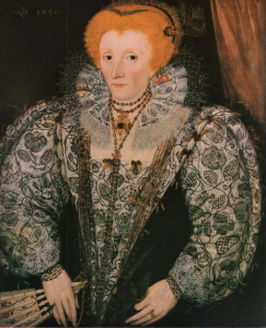 Elizabeth I wearing free-stitched Blackwork sleeves, stomacher, and collar