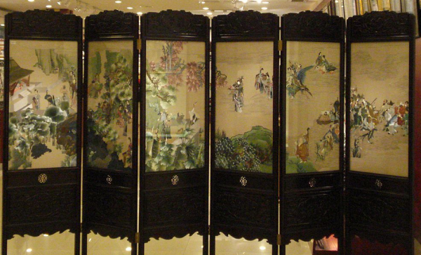 Screen with Chinese Suzhou embroidery