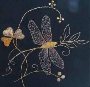 Tara Dragonfly Goldwork and Irish Lace project.