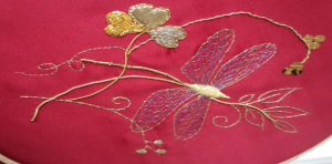 Frances' Finished Goldwork Dragonfly