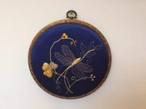 Nicola - Finished goldwork dragonfly